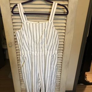 Loft white and navy striped romper